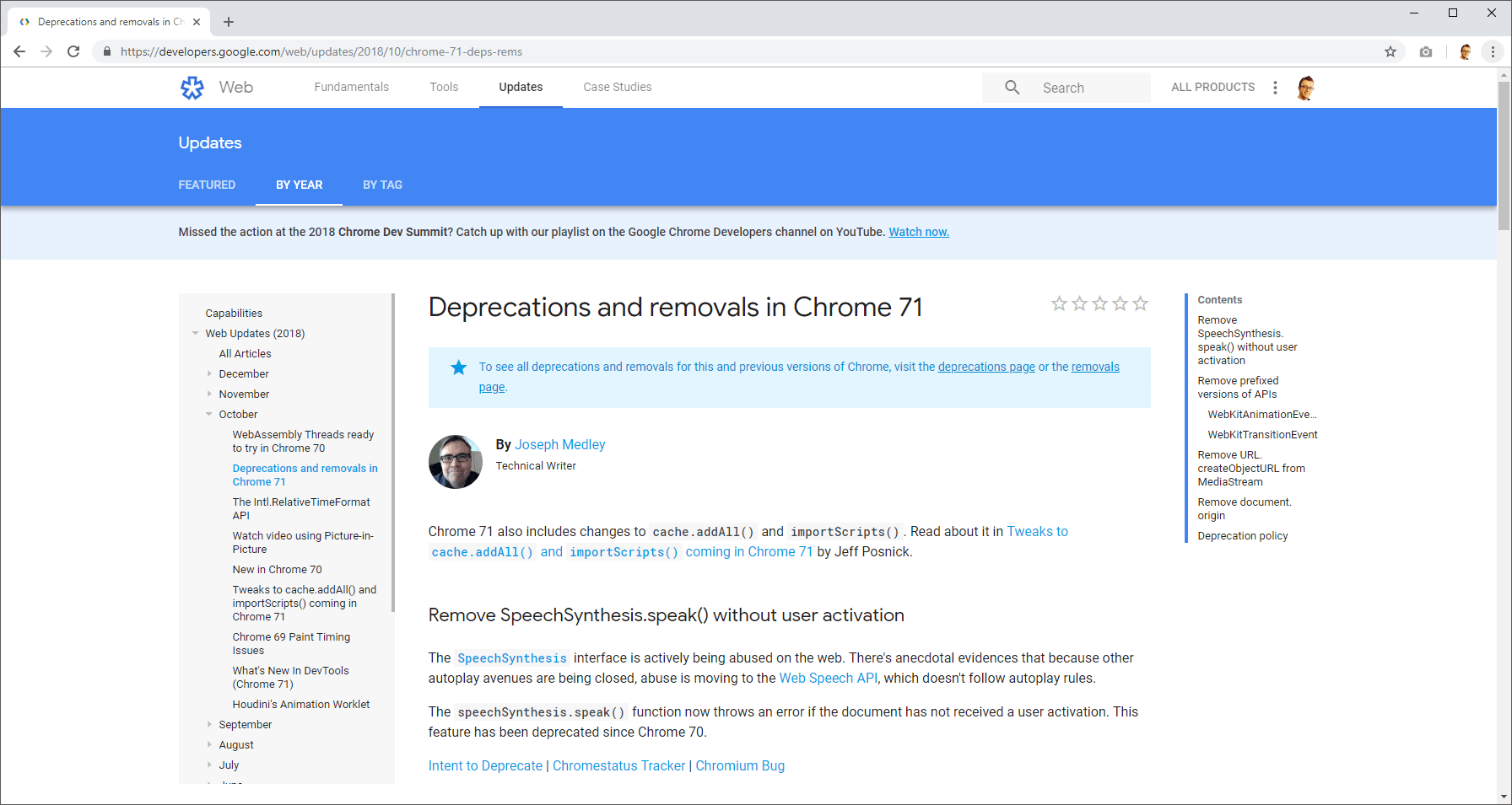 Deprecation info in Chrome