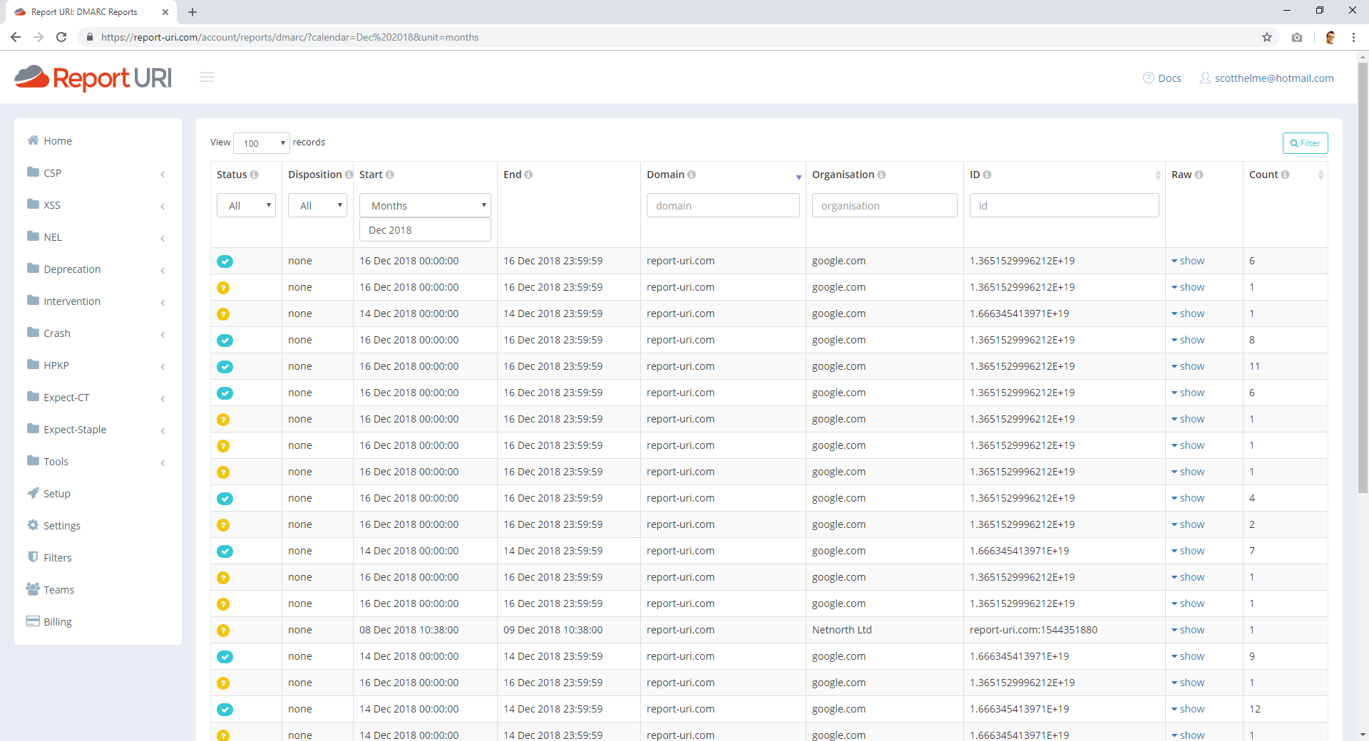 DMARC Reports view